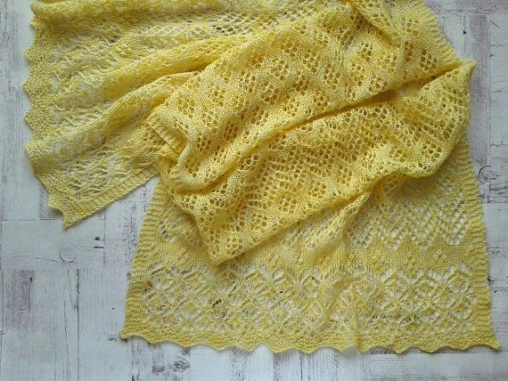 Alpaca Shawl. Lace Hand Knitted Rectangular Stole in Yellow.