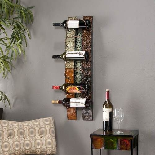 Modern Chrome Plated Steel Wire Wall Mounted 6 Bottle Wine Rack