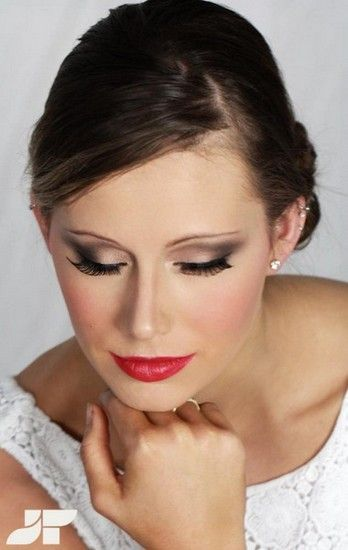 bride hair and makeup red lips beautiful bride side bun hair style up do smokey eye #makeup #hair #hairstyles #wedding #bridal #bride http://www.katdesouza.com/