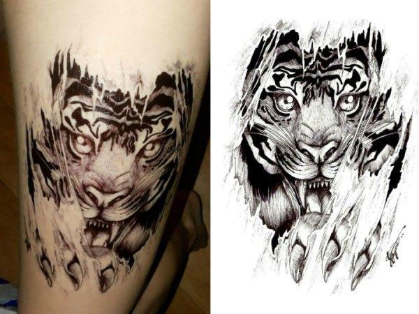 Aslan ve Pençe Sticker Geçici Dövme Siyah