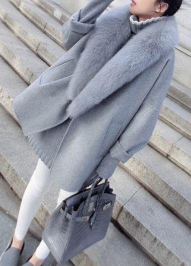 Faux Fur Collar Grey Long Sleeve Pocket Coat | lulugal.com - USD $47.69