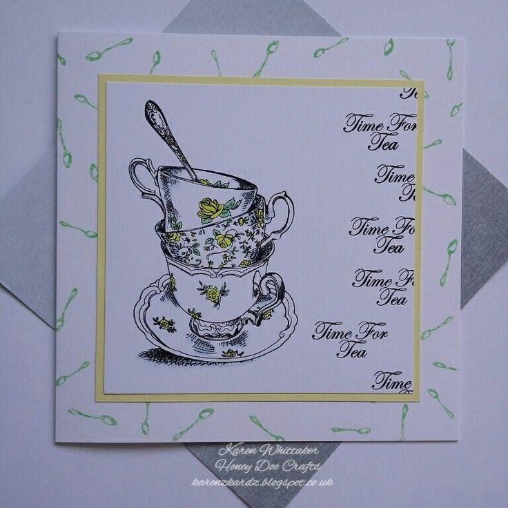 Time for tea stamp set by Honey Doo Crafts  #honeydoocrafts #dtsample #timefortea #tea #cups #kuretakezig #stamps #stamping #card #creative #craft #ilovetocraft #creativity