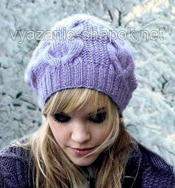 Вязание шапка с косичкой