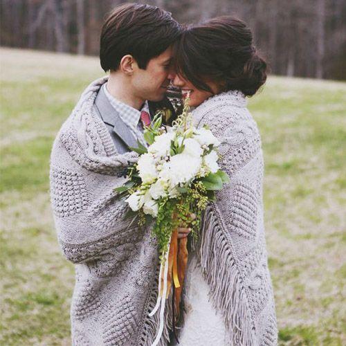 Plaid pour mariage thème hiver argent