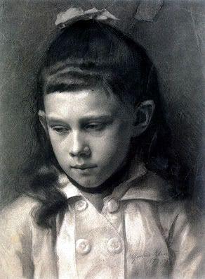Gustav Klimt ~ Portrait of a Girl, Head Slightly Turned Left, 1879 (charcoal)