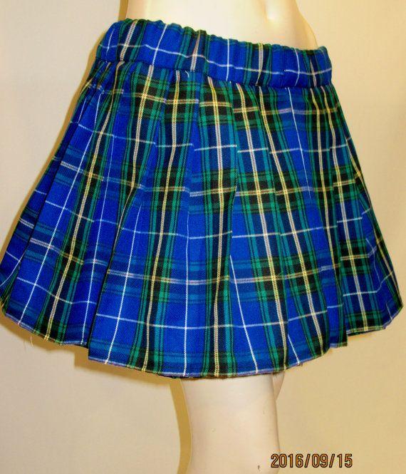 Nova Scotia Plaid Elastic Waistband Pleated Skirt~Plus Size Halloween Skirt~Christmas Blue Red Gift Pleated Skirt Custom Make@sohoskirts