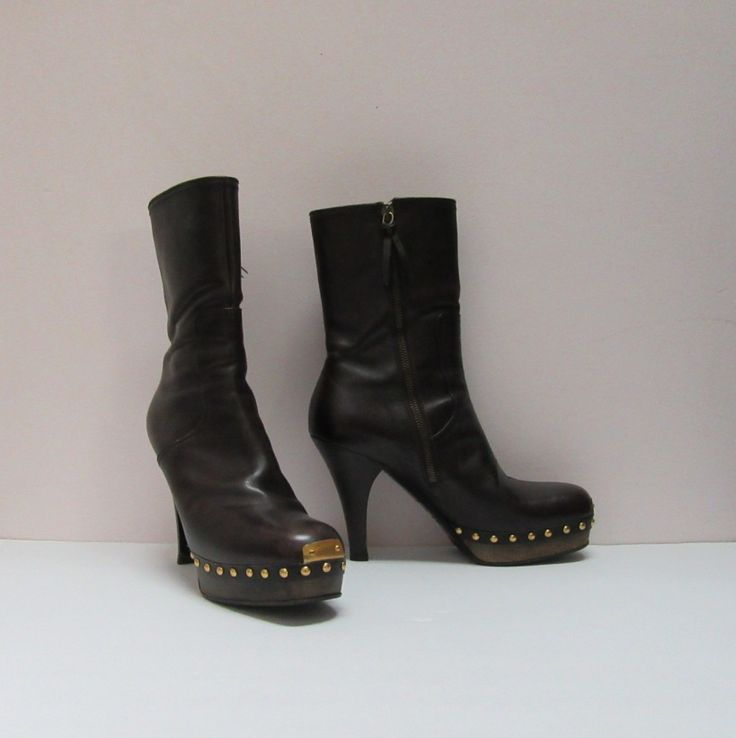 Miu Miu brown leather platform studded boots, side zip & leather lined, size 8. SOLD