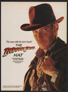 vintage hat advertising | ... about 1989 INDIANA JONES STETSON Hat - Harrison Ford - VINTAGE AD