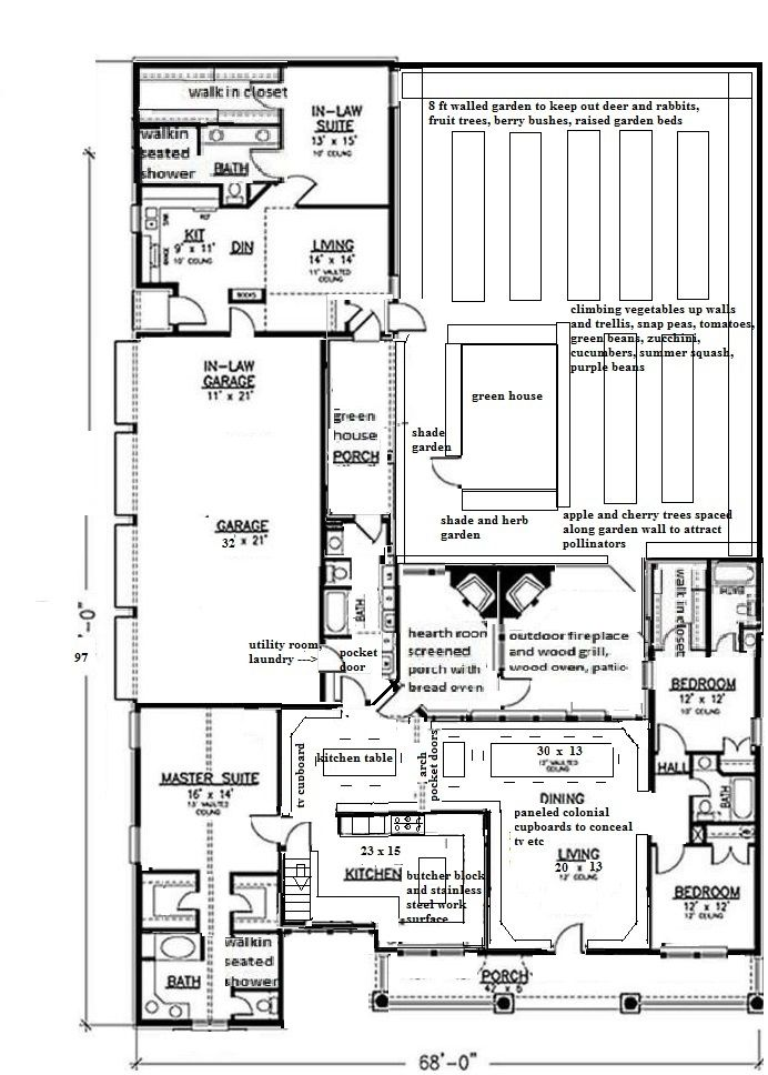 multigenerational family gathering ranch , walled in garden, raised garden beds, climbing garden, apple and cherry trees, green house, 3-4 bedroom, 4- 5 bathroom, screened porch, indoor/ outdoor hearth room, outdoor kitchen, outdoor fireplace with bread / pizza oven, 4 car garage, full unfinished basement, built in paneled cupboards for storage, wheelchair accessible , kitchen with large stainless steel sink, stainless steel and wood polished concrete, granite slab cutting board, mudroom..