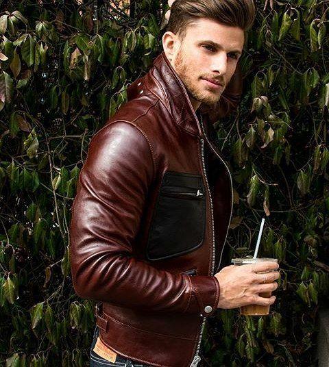 Brown leather jacket.   davidshadpour.com