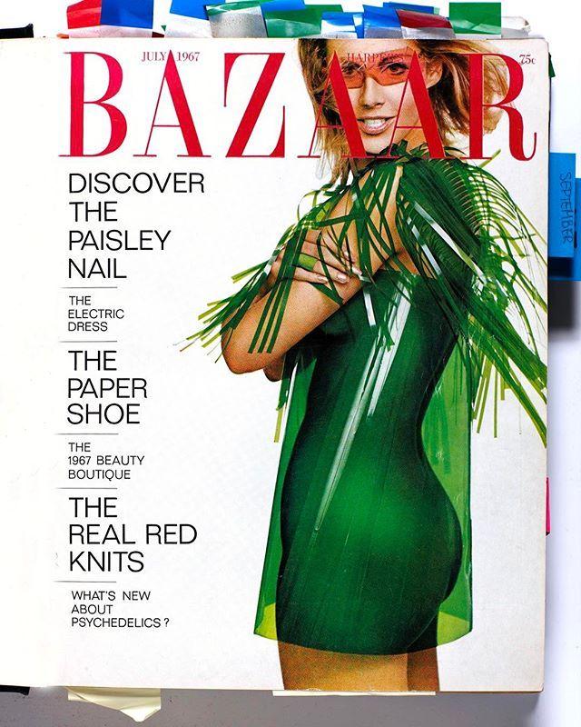 Платье запечатленное Хиро на обложке Harpers Bazaar придумала дизайнер Элиза Стоун работавшая в середине шестидесятых в команде Пола Янга основателя Paraphernalia. Открытие этого культового бутика на Мэдисон-авеню в 1965 году ознаменовало начало эпохи модных экспериментов  в Paraphernalia можно было найти наряды из самых необычных промышленных материалов. Цена каждого не превышала 99 долларов: Янг понимал что такие авангардные вещи вряд ли наденут дважды. Ярыми поклонницами Paraphernalia…