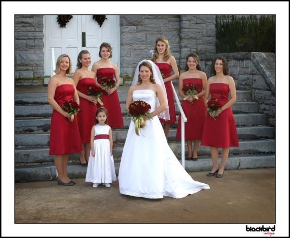 Red wedding dress bridesmaids colours