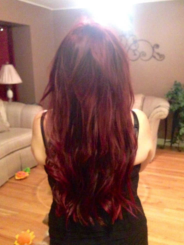 106 best hair extension artistry by mariel images on pinterest red hair extensions makeover using 18 colored strands in bright burgundy and black wine pmusecretfo Gallery