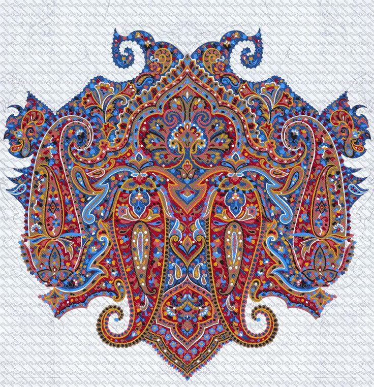 (586) painting cachemire medallion – Imagesfashiontextiles