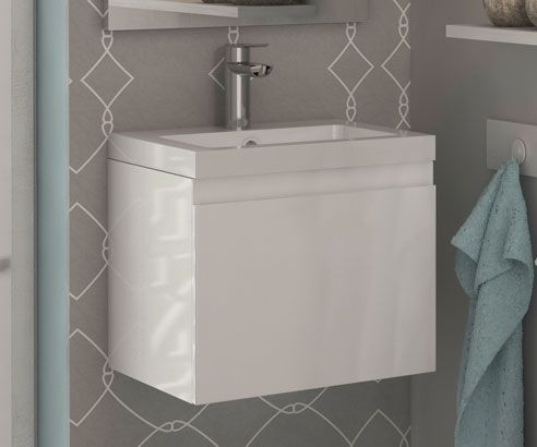 Loft White 400 Wall Hung Vanity Unit with Sink - V50111165WH scene2 square medium