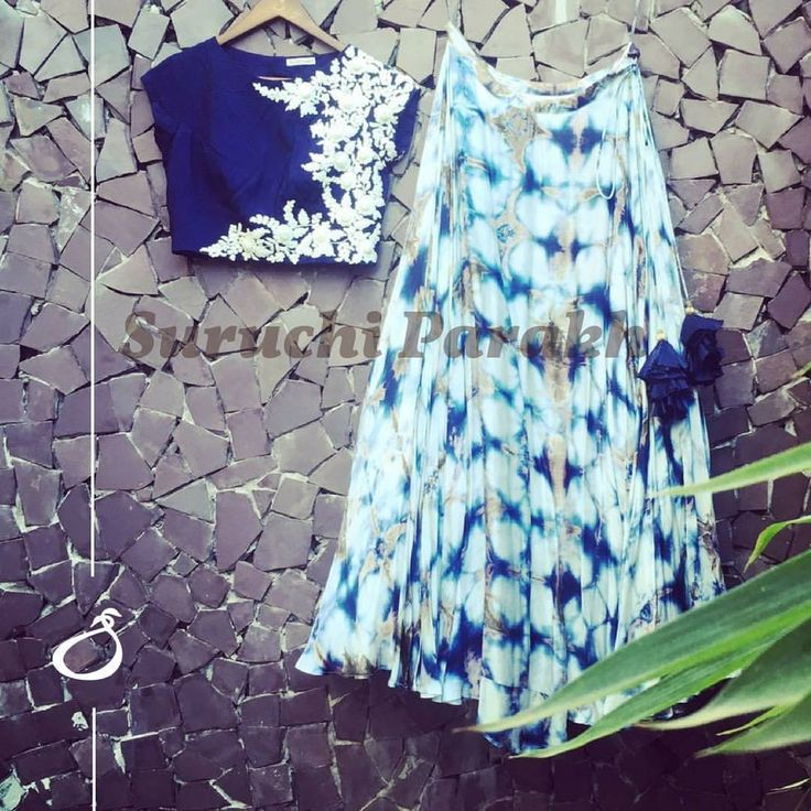 A beautiful tie and dye skirt paired with traditional and stylish hand embroidered crop top! A gorgeous amalgamation of styles and designs! 25 August 2017