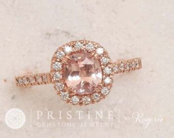 Best 25 champagne sapphire rings ideas on pinterest peach peach sapphire ring rose gold engagement ring by eidelprecious junglespirit Images