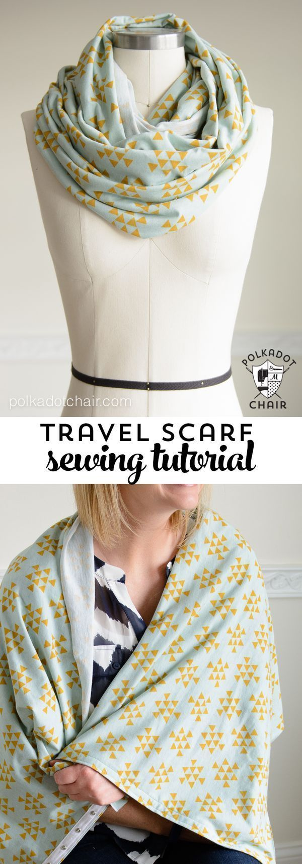 DIY Snap Up Infinity Scarf sewing pattern by Melissa of http://polkadotchair.com - perfect for traveling