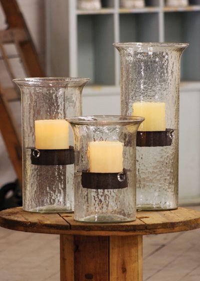 Glass Hurricane Candle Holders - Hudson and Vine