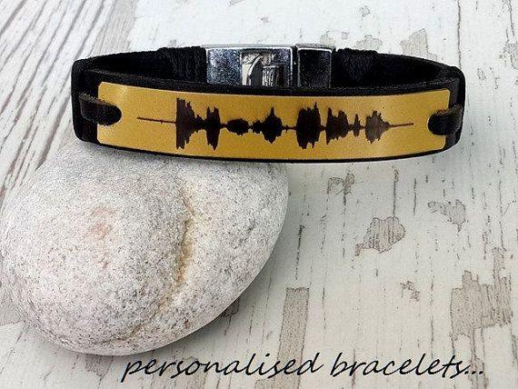 Handwriting JewelryMens Leather Bracelet Customized Leather