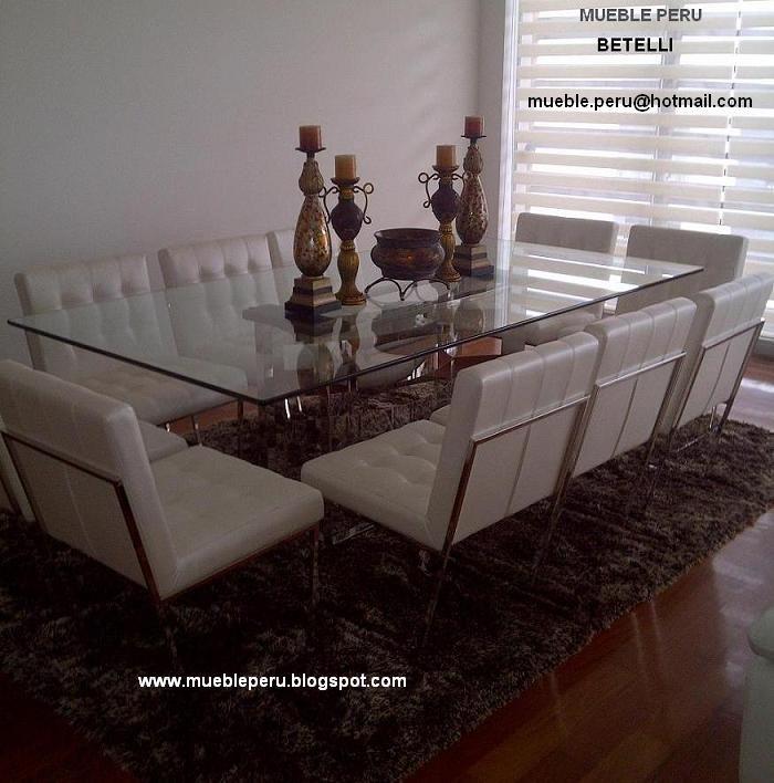 Exquisito comedor betelli con moderna mesa de acero y for Sillas de comedor modernas