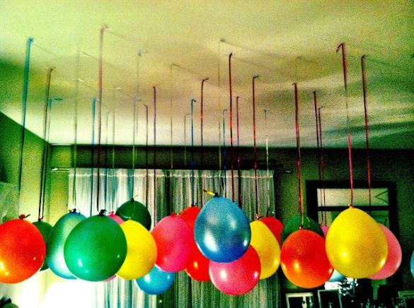 Balloons hanging from the ceiling vbs 2014 ideas for Balloon decoration book