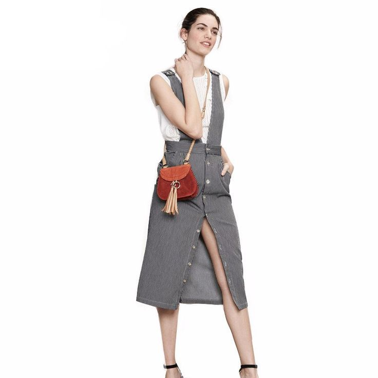OVERALLS DRESS / SKIRT STRIPPED BUTTONS UP SUSPENDED SUMMER 2017