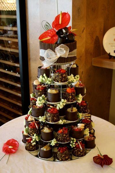 Dark Chocolate Wrapped Gâteaux Tower Wedding Cake