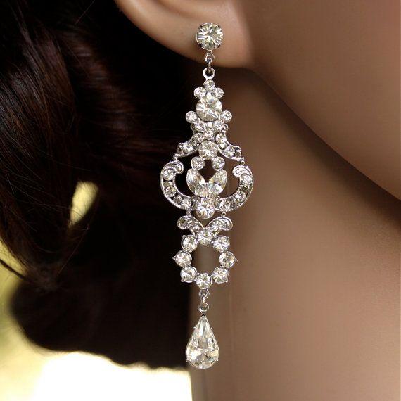 Gioielli di strass Lampadario Orecchini lunghi orecchini Art Deco sposa Orecchini cristallo sposa, FRANCES