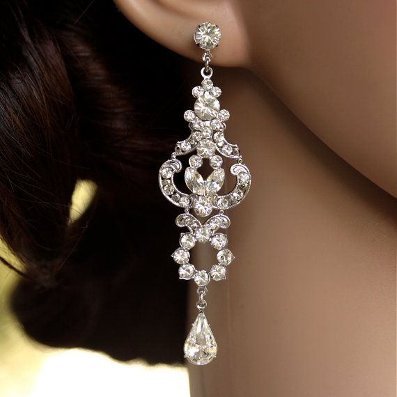 Rhinestone Chandelier Earrings Long Bridal Earrings Art Deco Wedding Earrings Crystal Wedding jewelry, FRANCES
