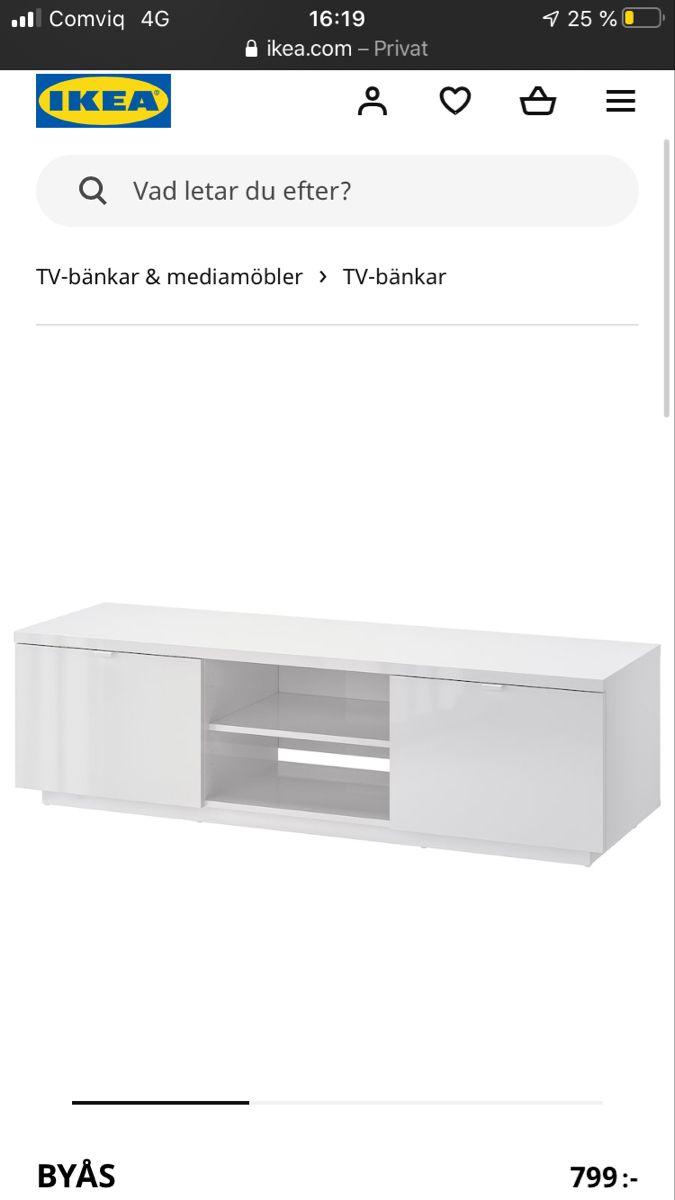 BYÅS Tv bänk, högglans vit, 160x42x45 cm IKEA i 2020