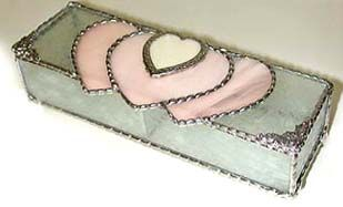 """Champagne Pink & Clear Stained Glass Jewelry Box - 3"""" x 8 1/2"""" - To see this and more, visit us at www.AccentOnGlass.com"""