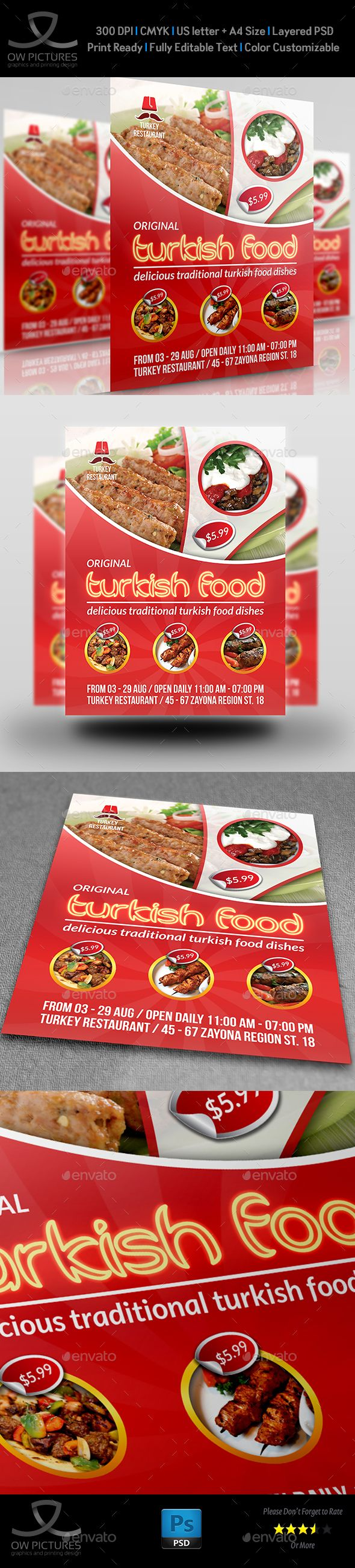 Turkish Restaurant Flyer Template by OWPictures Flyer Description: Turkish Restaurant Flyer Template was designed for exclusively corporate and small scale companies. Also it