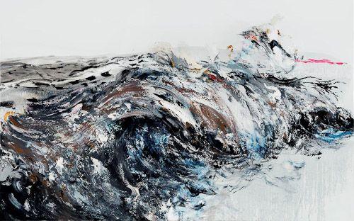 Wave Breaking Oil painting. Maggi Hambling