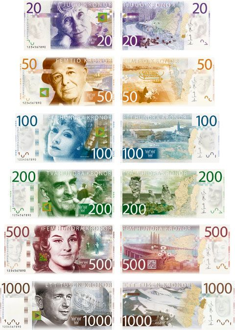 "The ""artistic starting point"" for the new swedish banknotes with (from the top) Astrid Lindgren, Evert Taube, Greta Garbo, Ingemar Bergman, Birgit Nilsson and Dag Hammarskjöld. The images on the backs are from the provinces the persons are most associated with (Småland, Bohuslän, Stockholm, Gotland, Skåne and Lappland)."