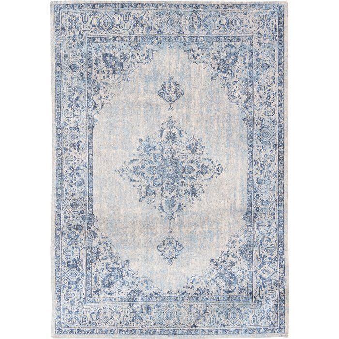 tapis khayma fairfield en coton bleu