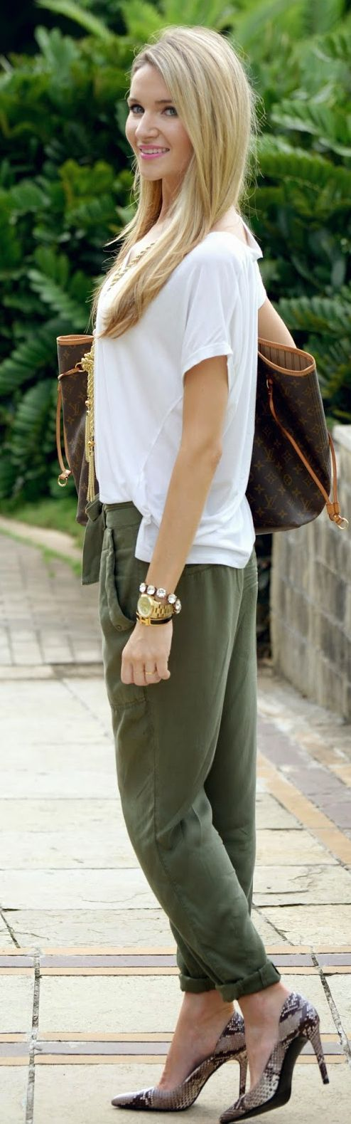 fancy army green joggers outfit shirts