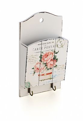 Porta Cartas e Chaves Pink Roses. Vintage paint technique and decoupage www.decorandocomclasseshop.com.br