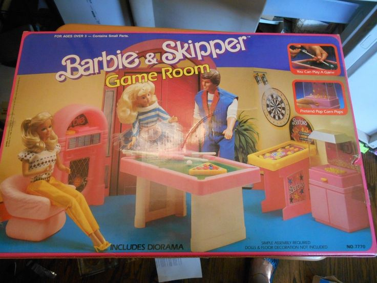 Barbie And Skippers Game Room Playset By Arco Toys 1988