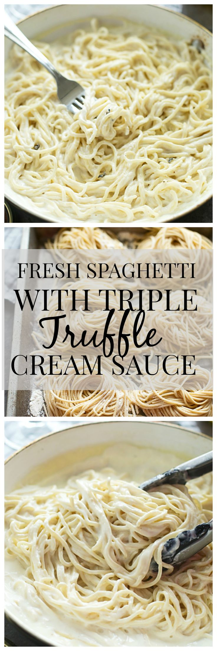 Fresh Spaghetti with Triple Truffle Cream Sauce