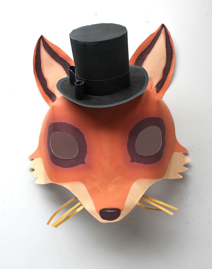 DAPPER FOX printable paper mask by Happythought