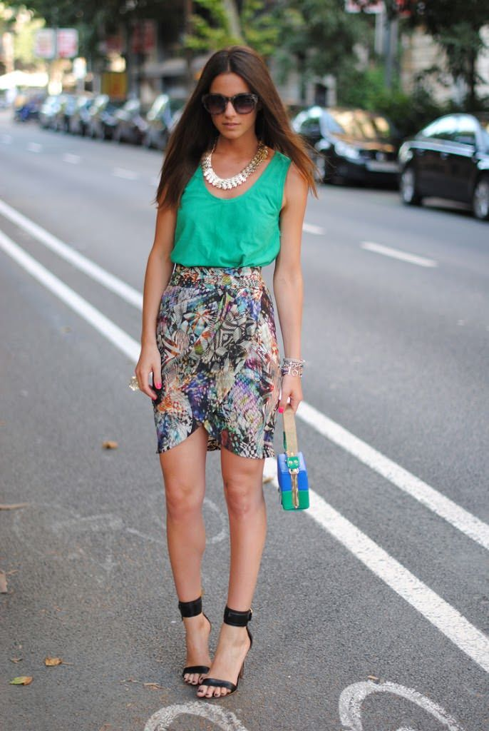 suede tank top with feminine skirt