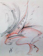 """Shipwreck."" Surrealistic shipwreck with lost souls.  Pencil & charcoal - 14 x 17. Artist: jacabo"