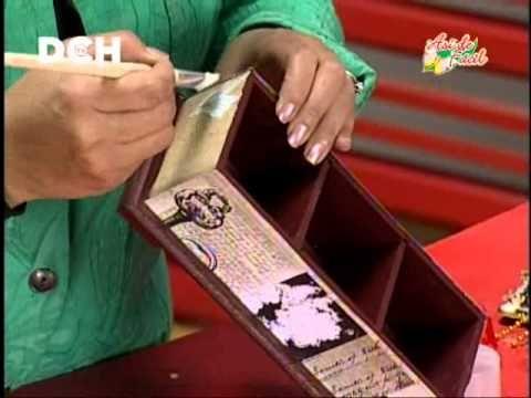 Materiales: • 1 caja de trupan. • Pintura acrílica color café. • Folia. • Pegamento de papel. • Sellante líquido o spray. • Adornos vintage. • Pincel paleta ...