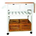Küchenrollwagen weiß braun
