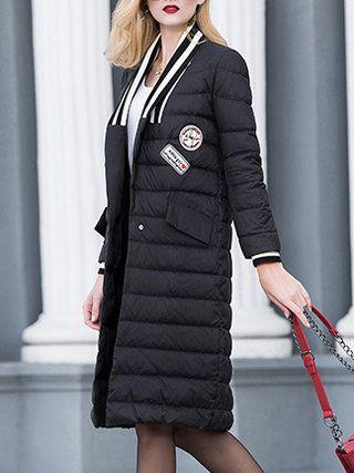 Black Pockets Long Sleeve V Neck Down Coat