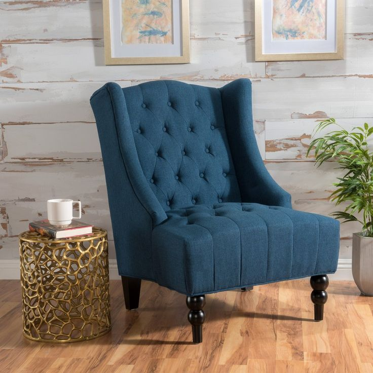 Clarice Wingback Tufted Fabric Accent Chair $200 each. Silver, cream or dark blue