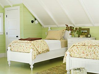 Decorating ideas for sloped ceiling - this is super helpful since we have one room with a low ceiling like this!