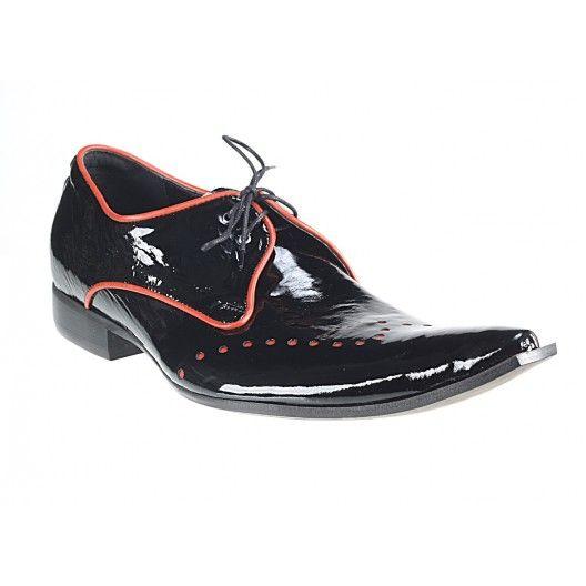 Pánske kožené extravagantné topánky čierne PT066 - manozo.hu