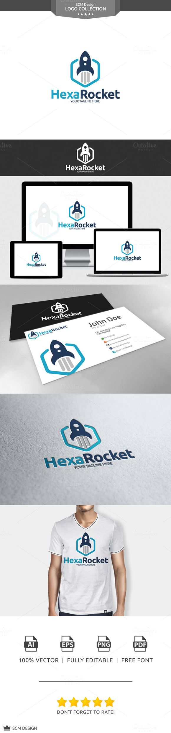Hexa Rocket Logo by Seceme Shop on Creative Market